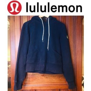 Lululemon Navy Cropped Hoodie with Neon Logo